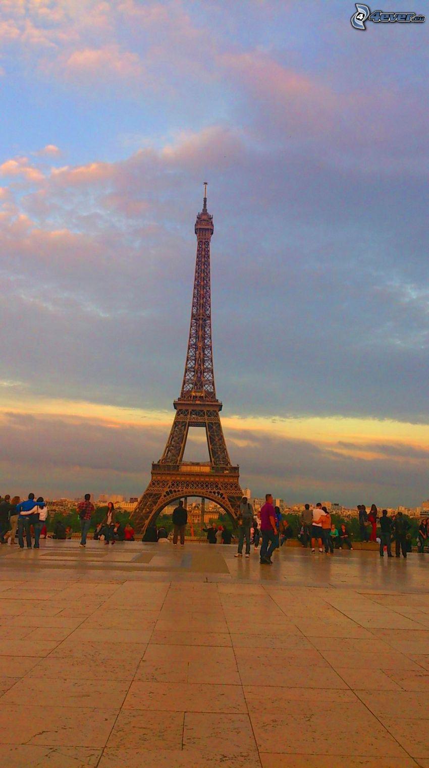 Torre Eiffel, Parigi, Francia, gente, piastrelle