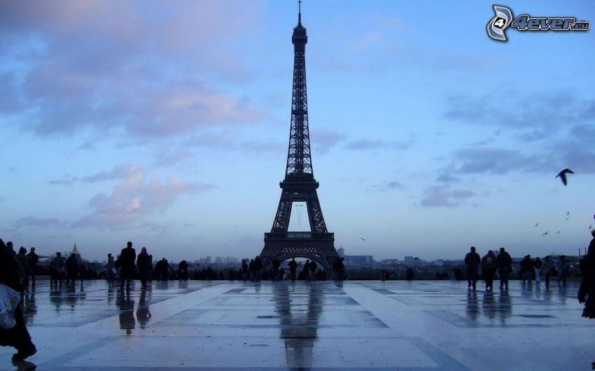 Torre Eiffel, Parigi, Francia, marciapiede, gente