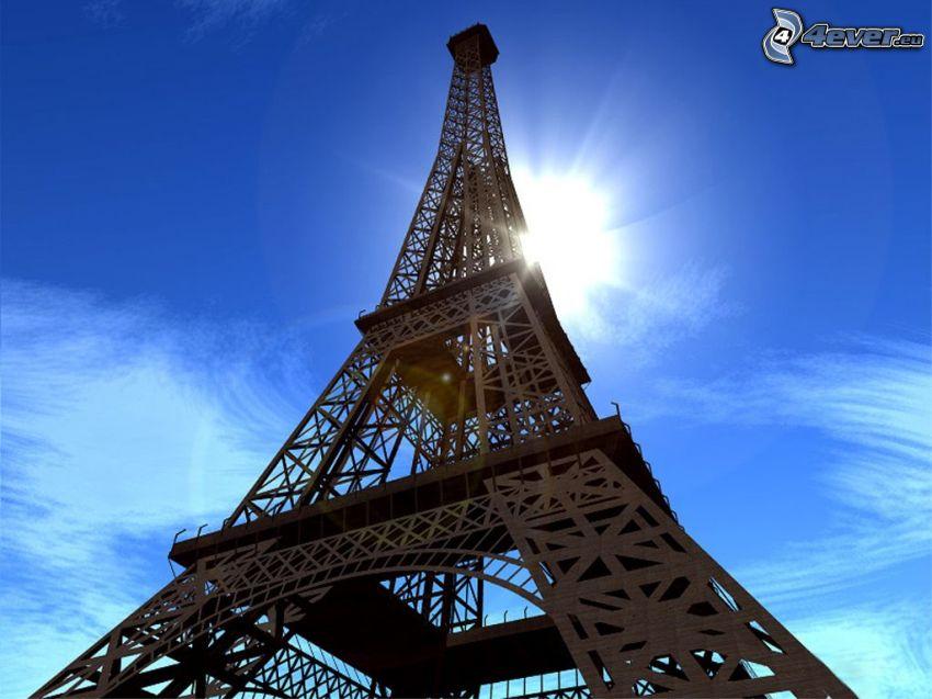 Torre Eiffel, sole