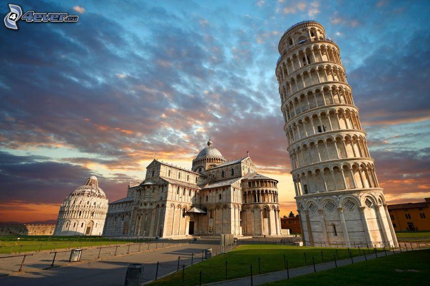Torre pendente di Pisa, Battistero a Pisa, HDR