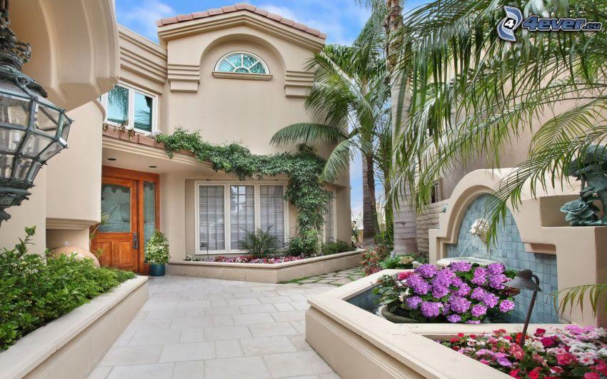 villa, palme, fiori, marciapiede, piastrelle