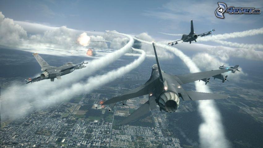 Ace Combat 6, aerei da caccia, fucileria, vista della città