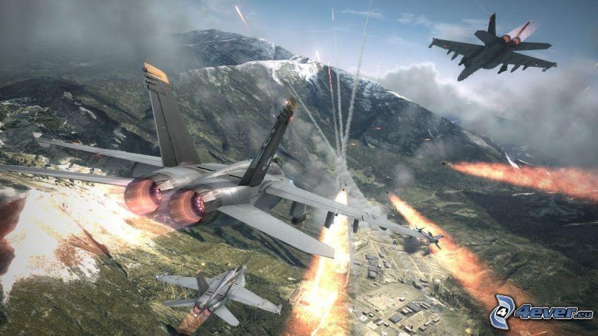 Ace Combat 6, aerei da caccia, fucileria