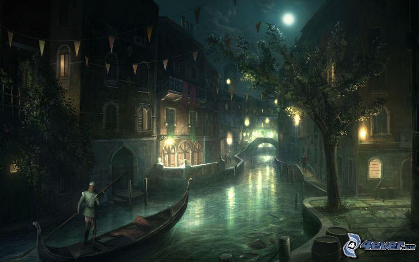 Assassin's Creed, città notturno, Venezia