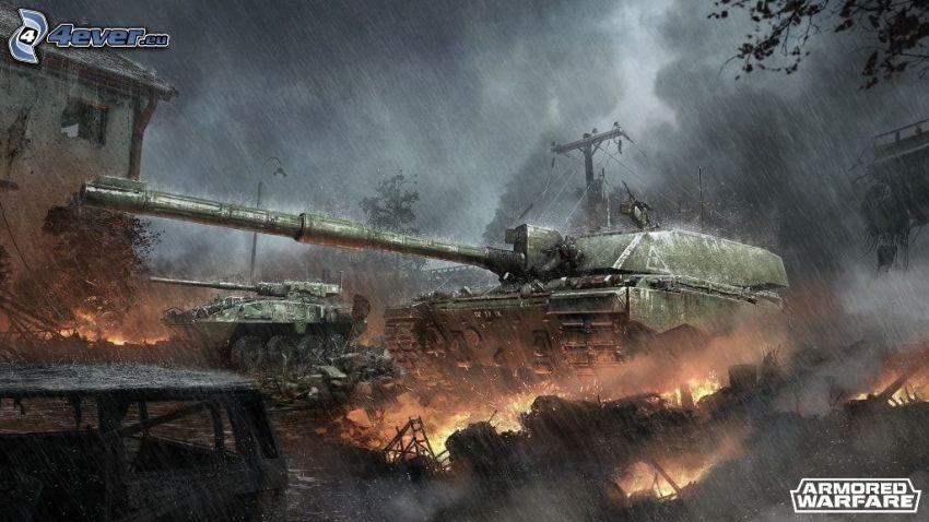 Armored Warfare, carri armati, fucileria, fuoco, pioggia