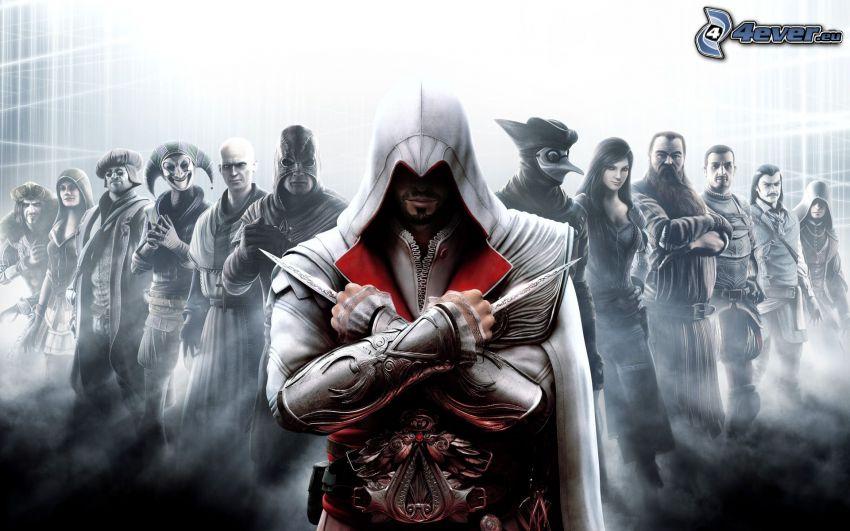 Assassin's creed Brotherhood, Nobleman, Smuggler, Engineer, Harlequin, Priest, Executioner, Ezio Auditore da Firenze, The Doctor, Courtesan, Blacksmith, Captain, Barber, Prowler