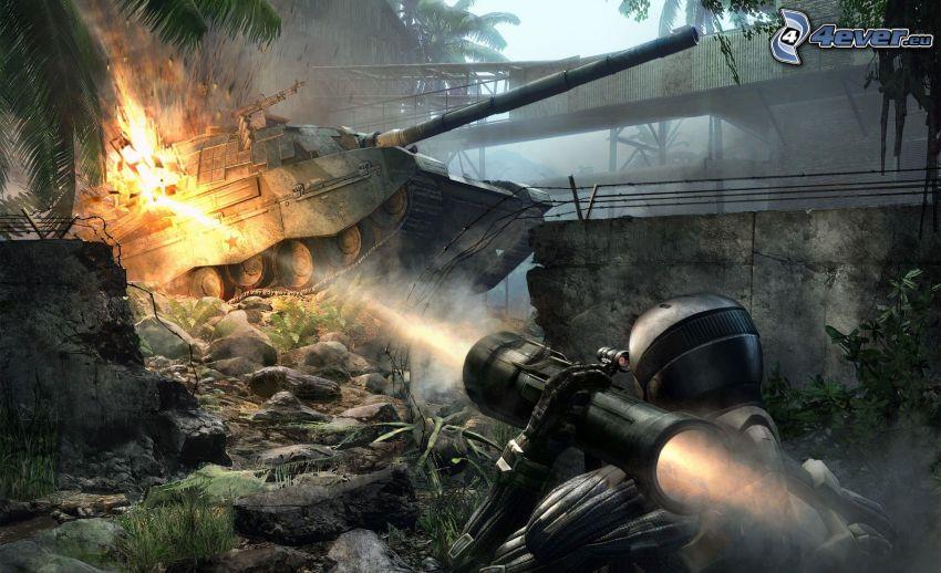 Crysis, carro armato, esplosione