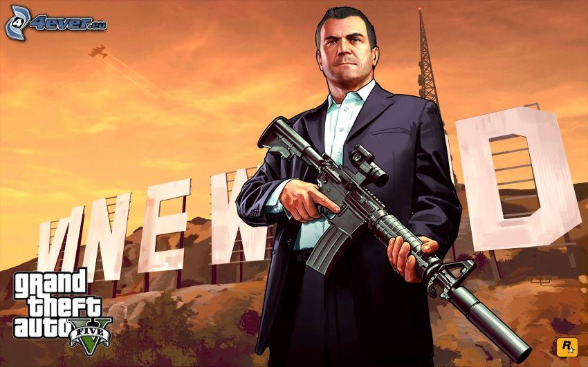 GTA 5, uomo con un fucile
