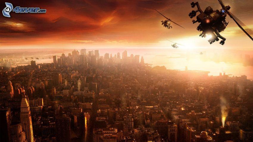 Manhattan, elicotteri militari, tramonto