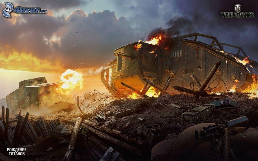 World of Tanks, carro armato, esplosione, fucileria