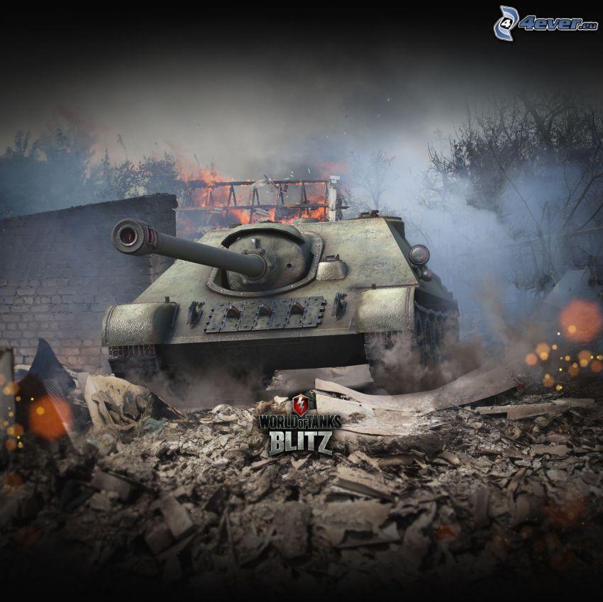 World of Tanks, città rovinata, fuoco