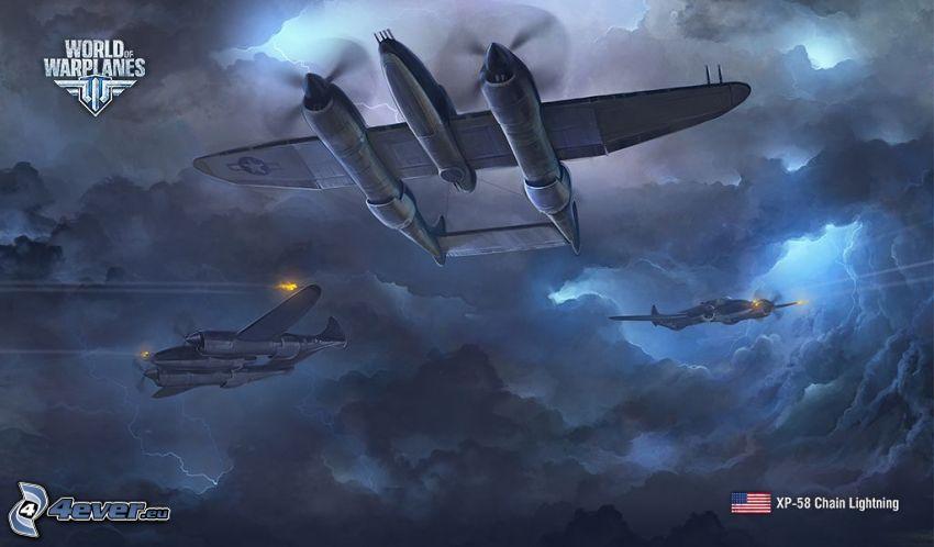 World of warplanes, aerei da caccia, nuvole scure