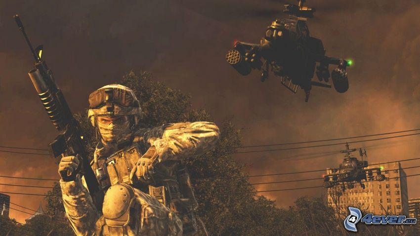 Call of Duty Modern Warfare 2, soldato, Elicottero militare