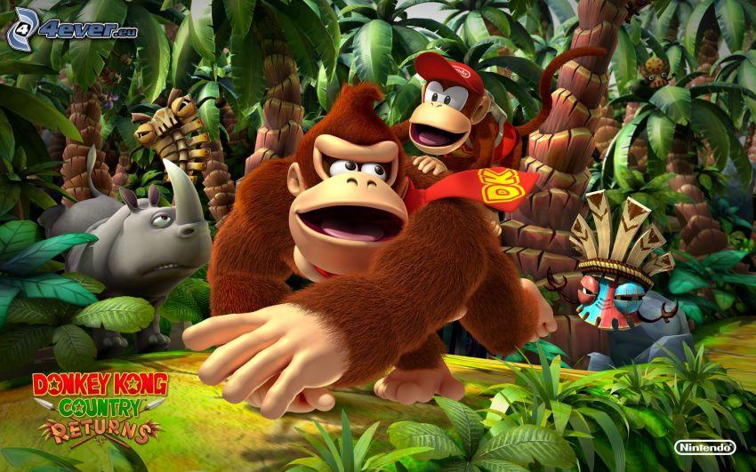 Donkey Kong Country Returns, giungla, scimmie