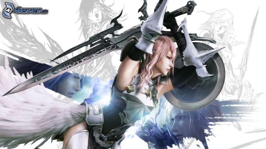 Final Fantasy XIII, fantasy guerriera, spada