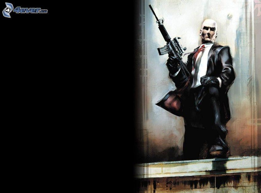 Hitman, uomo con un fucile