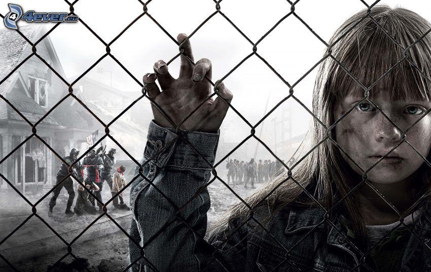 Homefront, ragazza triste, recinzione, bianco e nero