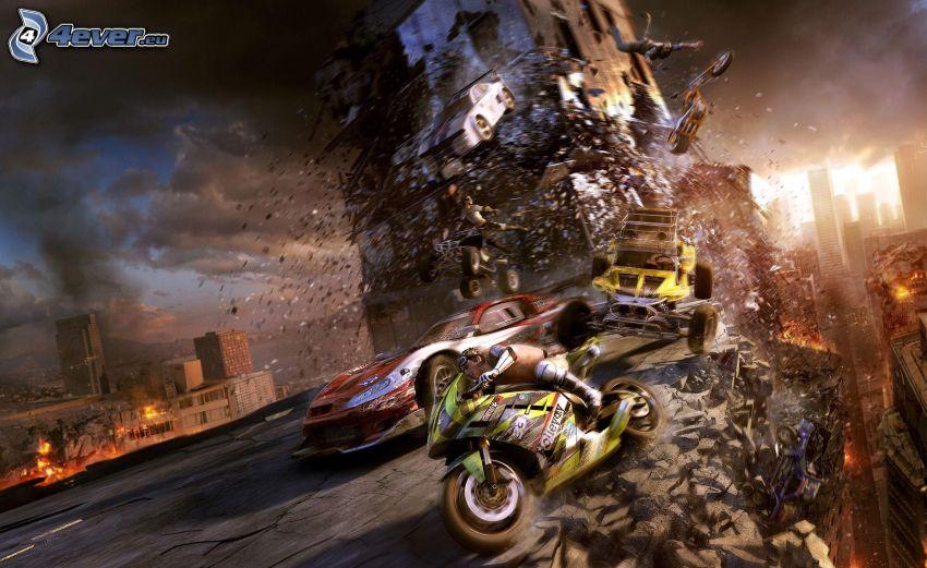 PC gioco, motociclista, auto, apocalisse