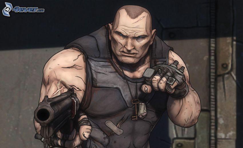 PC gioco, uomo con un fucile