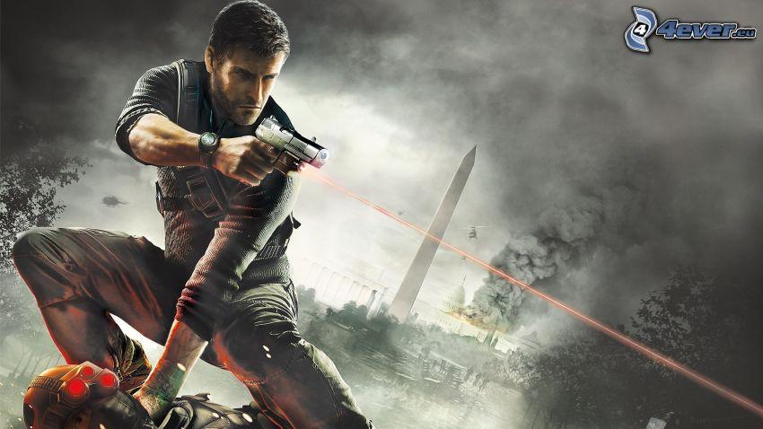 Splinter Cell: Blacklist, uomo con un fucile, raggi laser