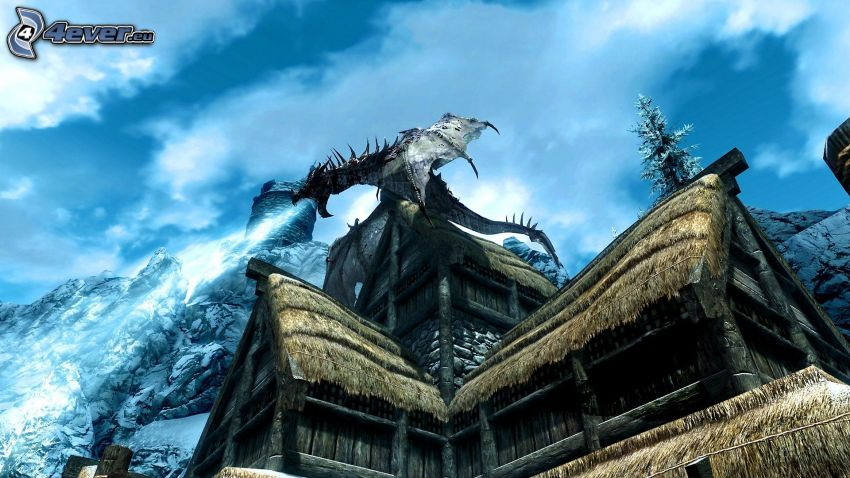 The Elder Scrolls Skyrim, dragone nero, chalet