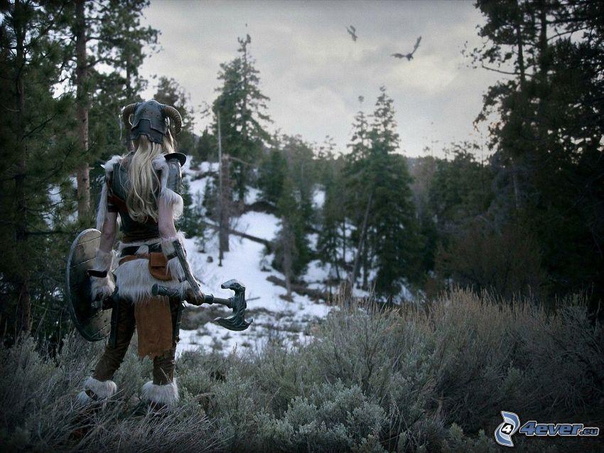 The Elder Scrolls Skyrim, guerriera, foresta