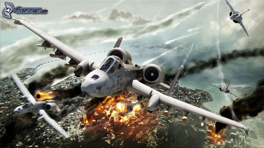 Tom Clancy's HAWX 2, A10 Warthog, aerei da caccia, città rovinata