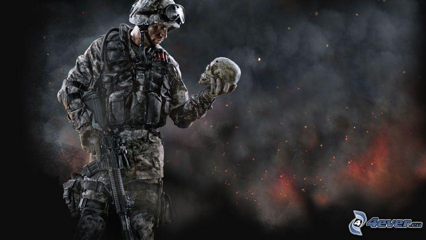 Warface, soldato con una arma, cranio