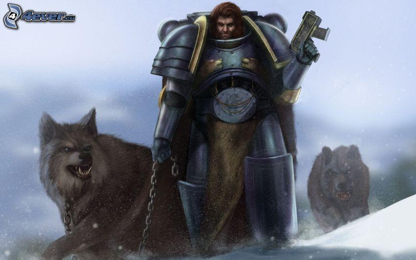 Warhammer, guerriero fantasy, lupo