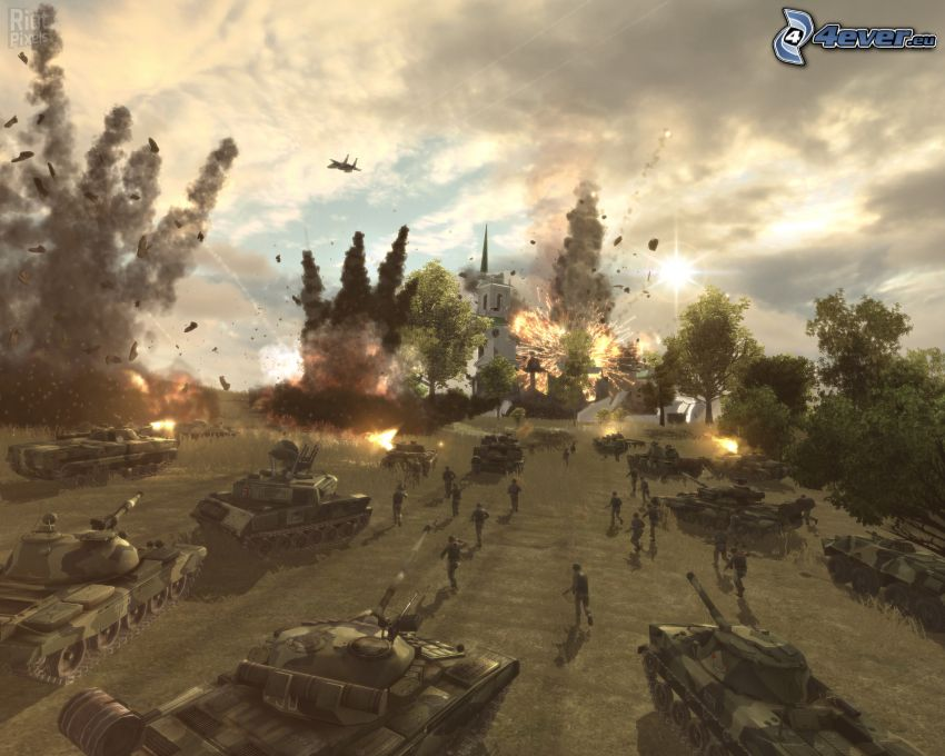 World in Conflict, esplosione, fucileria, carri armati