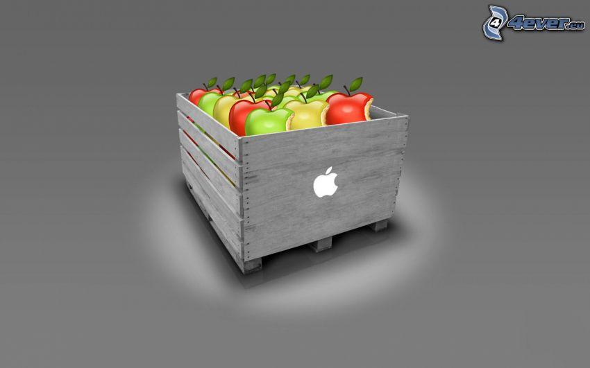 Apple, mele, cassetta in legno