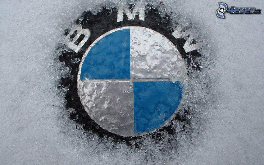 BMW, logo, ghiaccio, neve