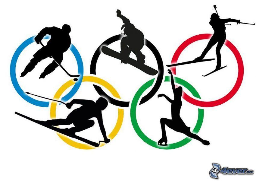 cerchi olimpici, giocatore di hockey, snowboarder, sciatore, pattinatrice