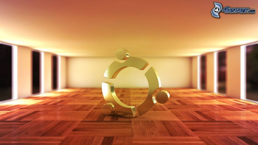 Ubuntu, 3D, pavimento di legno, stanza