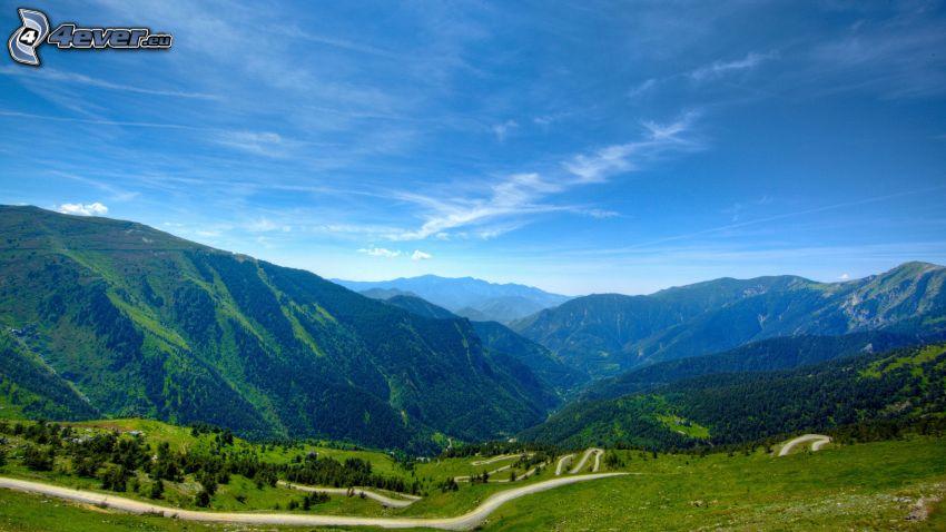 boschi e prati, montagne, strada, strade zigzag