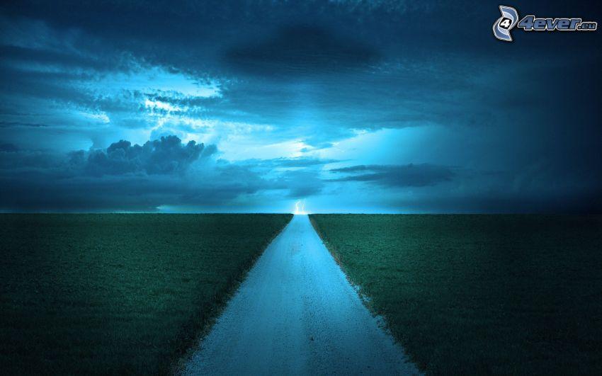 calle, campi, nuvole scure, fulmini