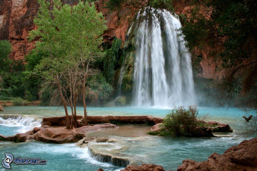 cascata, laghetto, roccia