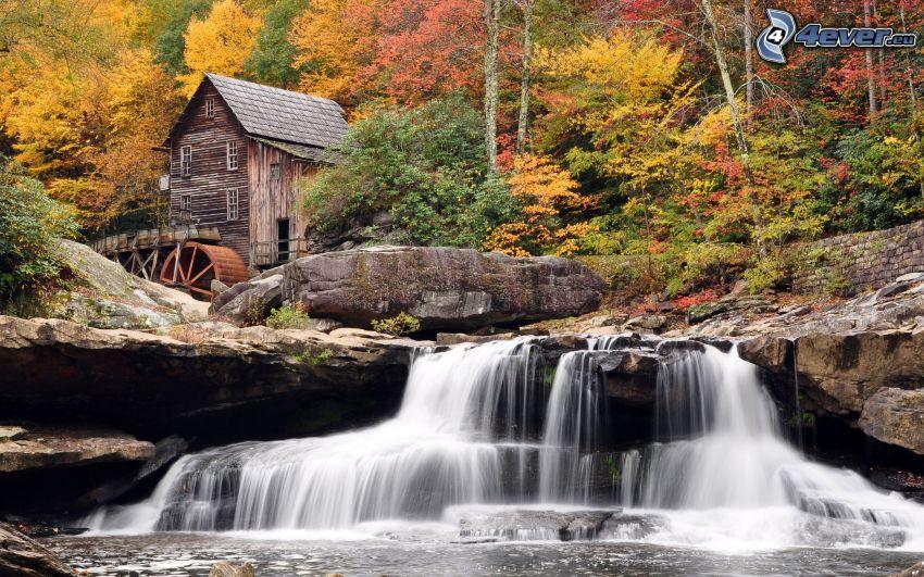 cascata, mulino ad acqua, rocce, alberi colorati d'autunno