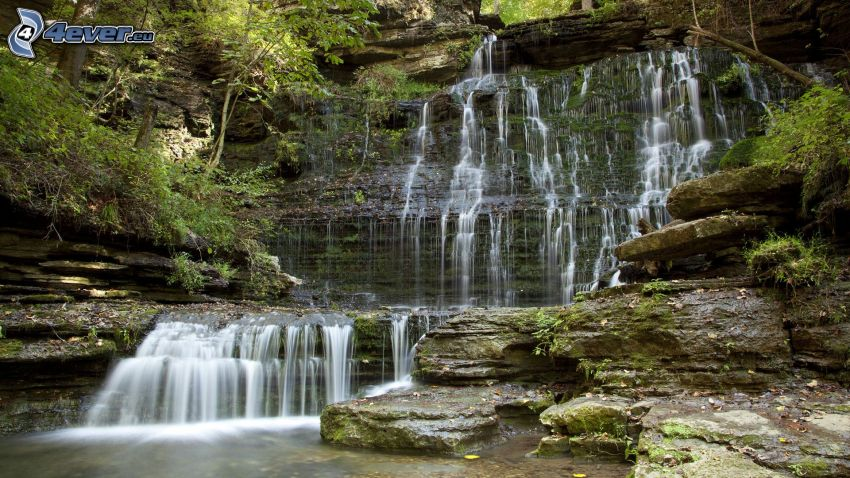cascata, rocce