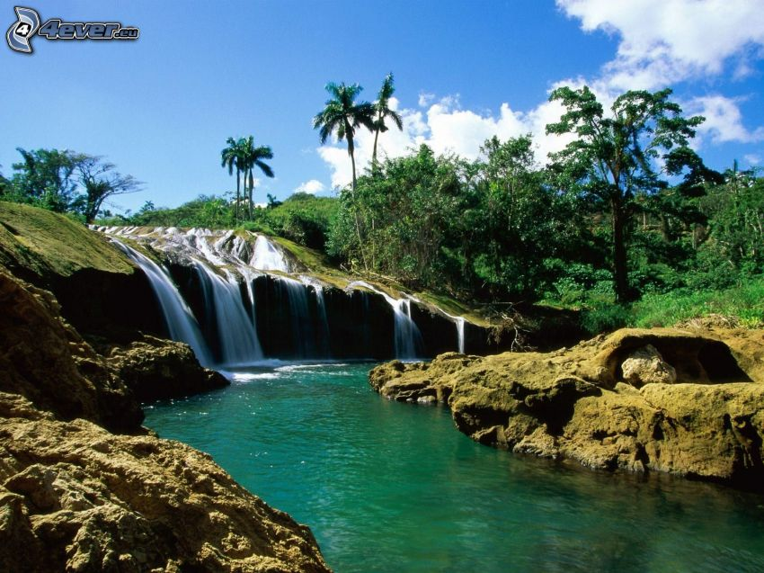 cascate, verde, rocce