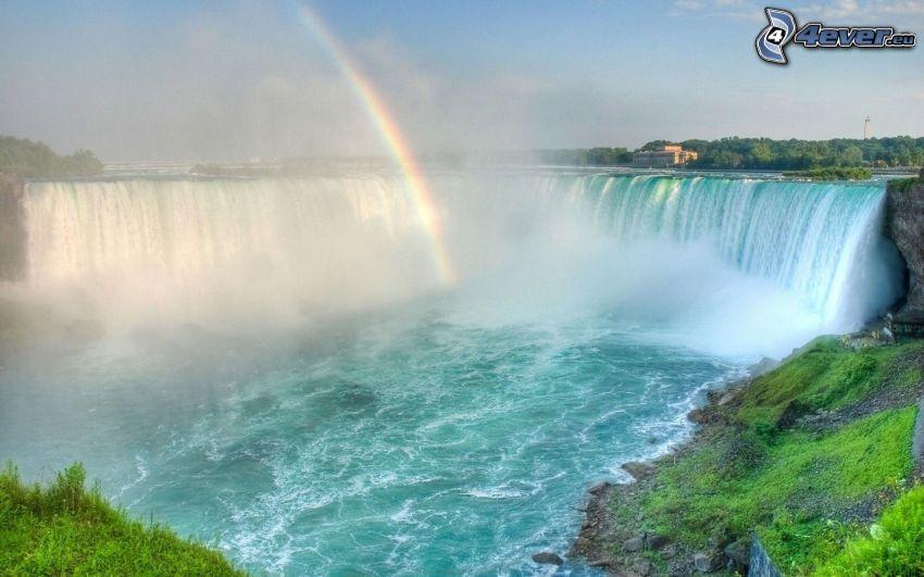 Cascate del Niagara, cascata enorme, arcobaleno