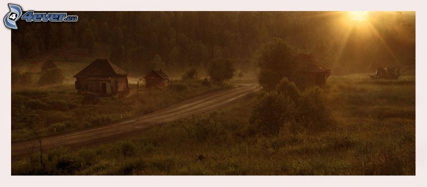 case di legno, strada, foresta, sole