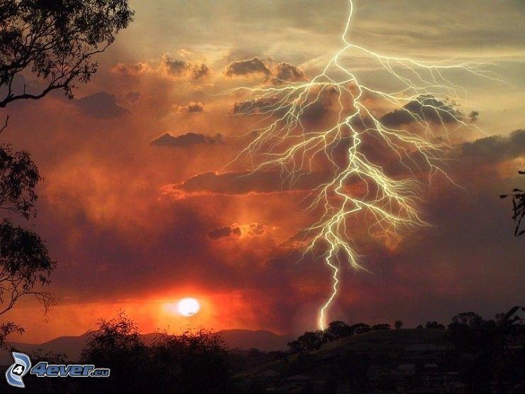 fulmine, tramonto, cielo, tempesta