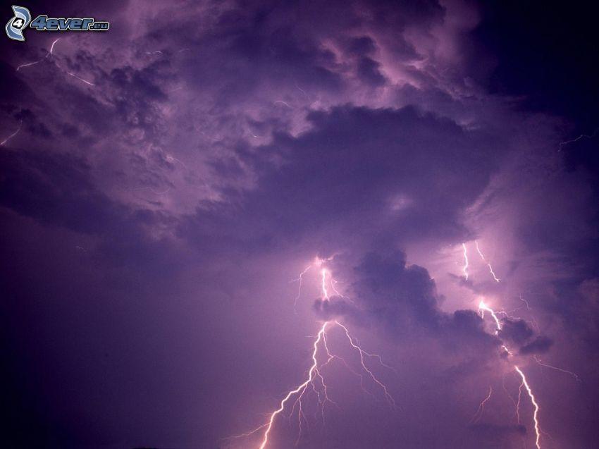 fulmini, nuvole