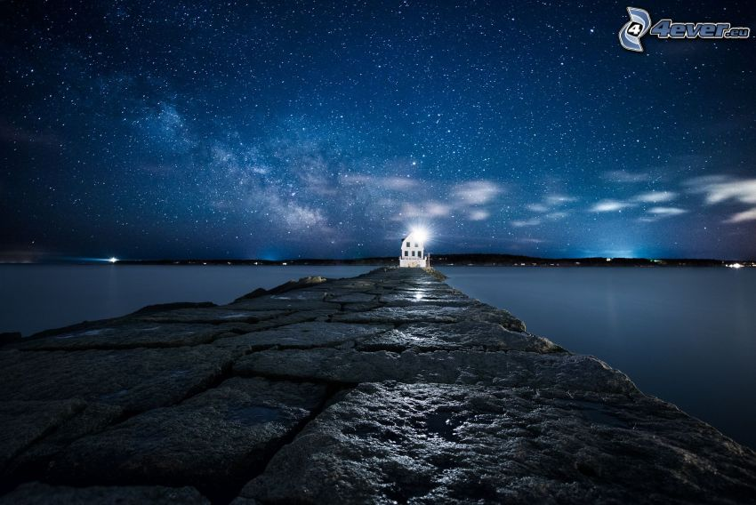 molo, casa, cielo stellato