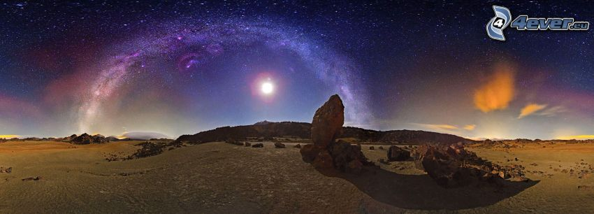 notte, rocce, luna, Via Lattea