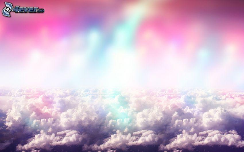 nuvole, cielo viola