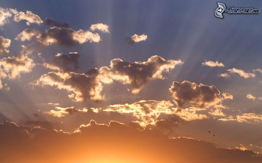 nuvole, raggi del sole