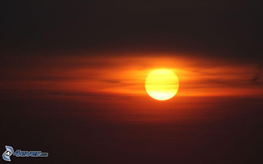 sole, cielo arancione