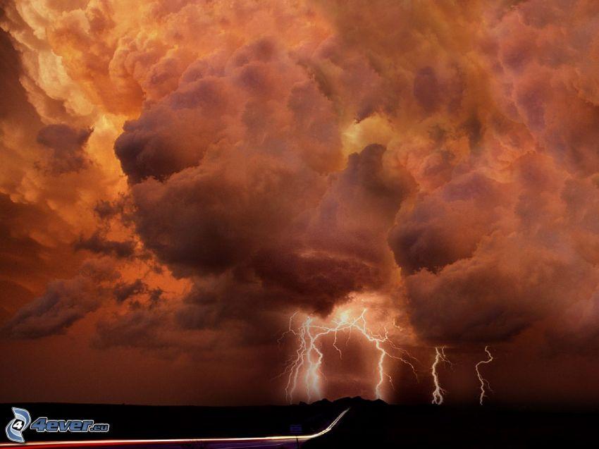 tempesta, nuvole, fulmini, strada